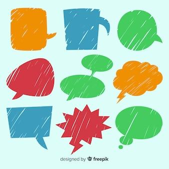 Conjunto de bolhas do discurso colorido mão desenhada