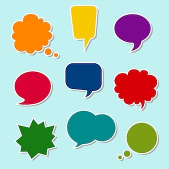 Conjunto de bolhas do discurso colorido