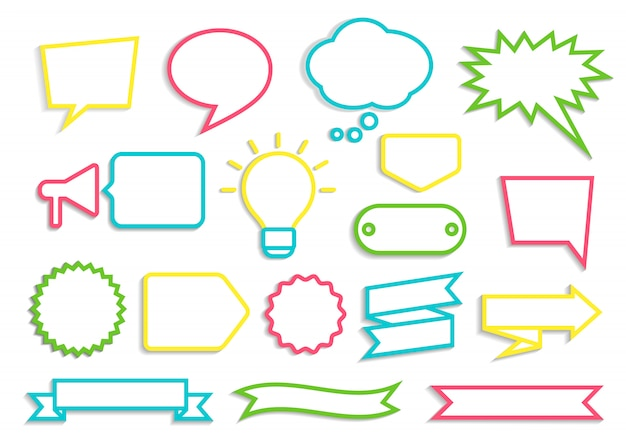 Conjunto de bolhas do discurso com contornos coloridos, emblemas e fitas com sombra