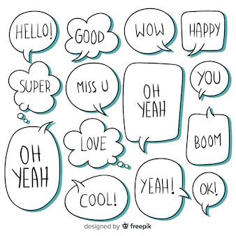 Conjunto de bolhas do discurso com diferentes expressões