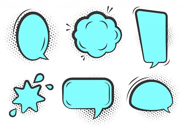 Conjunto de bolhas do discurso da arte pop em quadrinhos. nuvem de texto vazio dos desenhos animados com sombra de ponto de meio-tom. balão de mensagem de quadrinhos de cor azul esverdeado com contorno preto.
