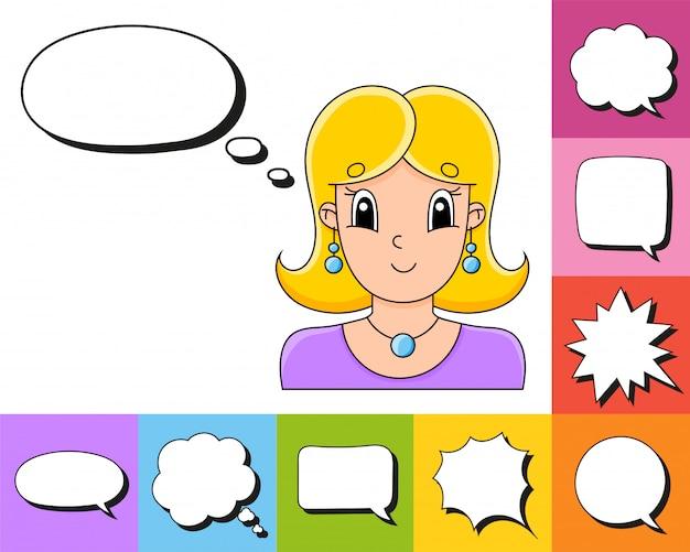 Conjunto de bolhas do discurso de formas diferentes, com um personagem de desenho animado bonito.