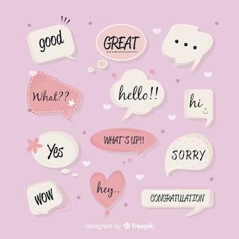 Conjunto de bolhas do discurso de mão desenhada com expressões diferentes
