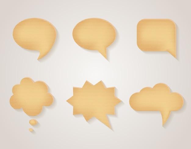 Conjunto de bolhas do discurso de papelão. mensagem em branco, adesivo de comunicação texturizado, ilustração vetorial
