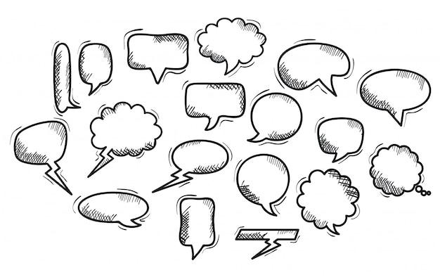 Conjunto de bolhas do discurso desenhadas