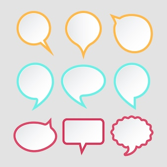 Conjunto de bolhas do discurso. design de adesivos de papel colorido para texto