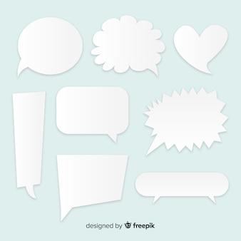 Conjunto de bolhas do discurso design plano definido no estilo de jornal