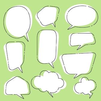 Conjunto de bolhas do discurso e balões de diálogo em quadrinhos
