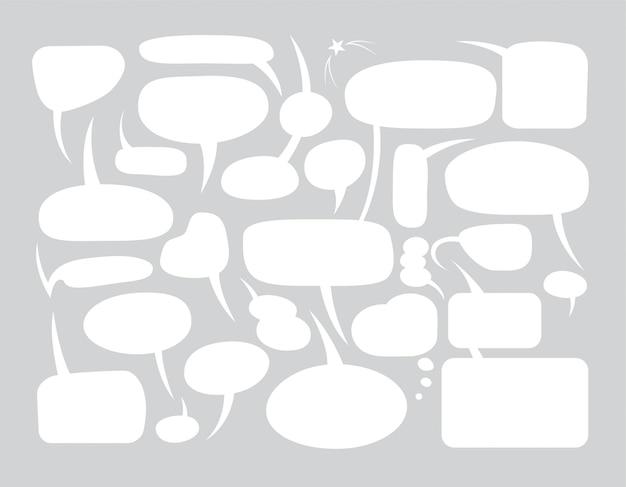 Conjunto de bolhas do discurso em branco em diferentes formas de quadrinhos