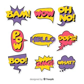 Conjunto de bolhas do discurso em quadrinhos coloridos