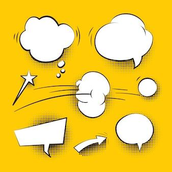 Conjunto de bolhas do discurso em quadrinhos desenhos animados com sombras de meio-tom