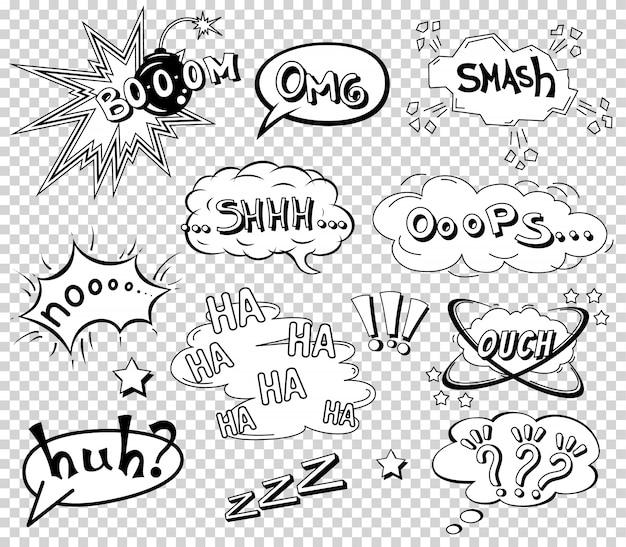 Conjunto de bolhas do discurso em quadrinhos, formulação de efeito sonoro