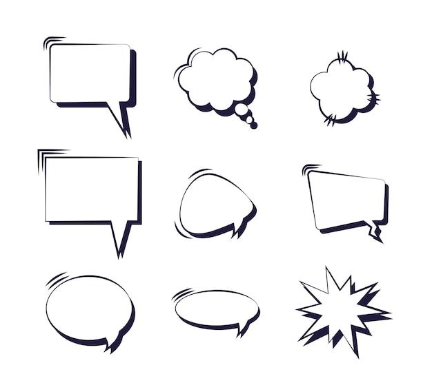 Conjunto de bolhas do discurso em quadrinhos pop art