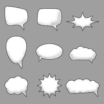 Conjunto de bolhas do discurso em quadrinhos vazio com textura de areia de ruído na moda
