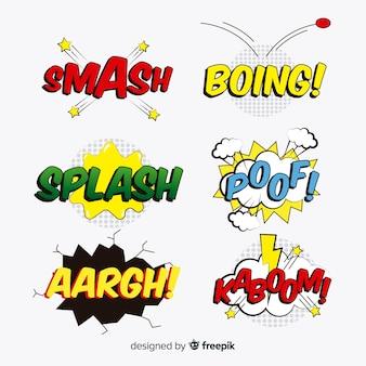 Conjunto de bolhas do discurso em quadrinhos