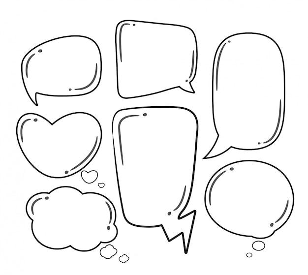 Conjunto de bolhas do discurso em quadrinhos.
