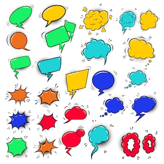Conjunto de bolhas do discurso estilo cômico colorido vazio. elemento para cartaz, folheto, cartão, banner. ilustração