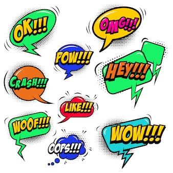 Conjunto de bolhas do discurso estilo cômico com efeitos sonoros de texto. elemento para cartaz, cartão, banner, panfleto. ilustração