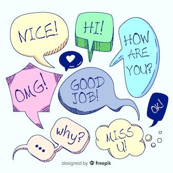 Conjunto de bolhas do discurso mão desenhada com diferentes expressões
