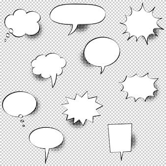 Conjunto de bolhas do discurso mão desenhada com sombras de meio-tom. ilustração.