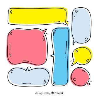 Conjunto de bolhas do discurso mão desenhada