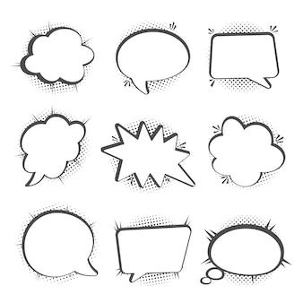Conjunto de bolhas do discurso, sombras de meio-tom