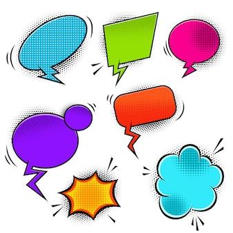 Conjunto de bolhas do discurso vazio estilo cômico. elemento para cartaz, banner. ilustração