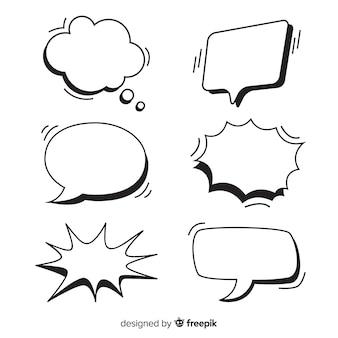 Conjunto de bolhas do discurso vazio para quadrinhos