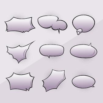 Conjunto de bolhas e elementos em quadrinhos vazio retrô.