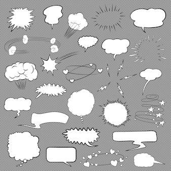 Conjunto de bolhas e elementos em quadrinhos.