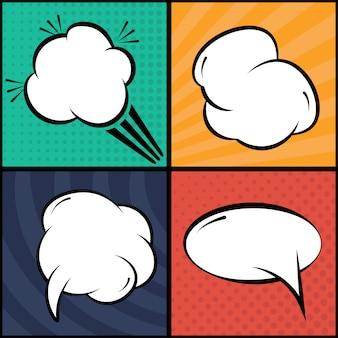 Conjunto de bolhas em quadrinhos e elementos na arte pop, com sombras de meio-tom. ilustração vetorial