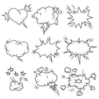 Conjunto de bolhas em quadrinhos