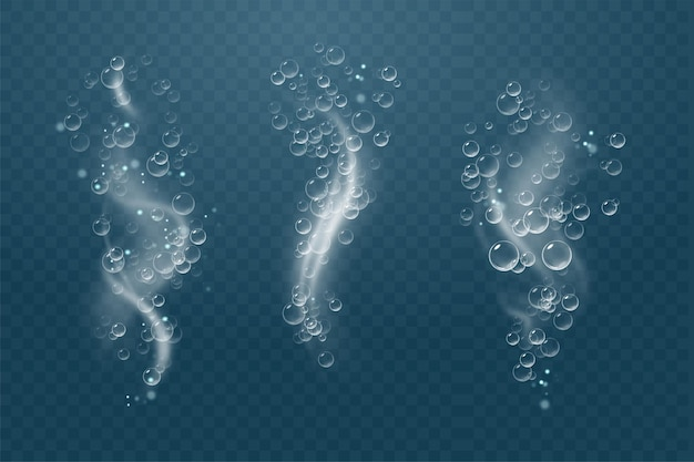 Conjunto de bolhas sob a água isolada ilustração vetorial no fundo transparente bolha fizz air