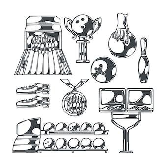 Conjunto de boliche com imagens monocromáticas isoladas de pista com pinos de chuteira e taças de troféu