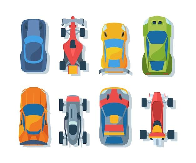 Conjunto de bólidos esportivos vista superior. coleção de automóveis de corrida. carros esportivos profissionais e mochila de transporte de rally. diferentes veículos esportivos isolados no branco
