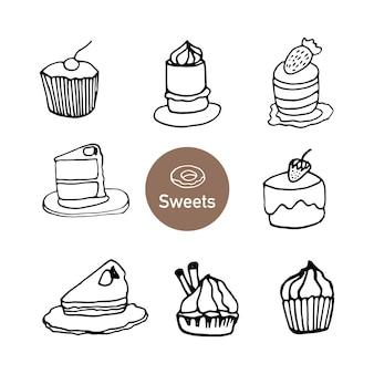 Conjunto de bolinhos, bolinhos e bolos de mão desenhada. ilustração em vetor doodle