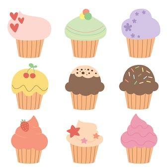 Conjunto de bolinhos fofos e cupcakes
