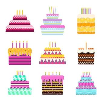 Conjunto de bolo de aniversário brilhante para cartões com desejos e saudações ícone de vetor plana