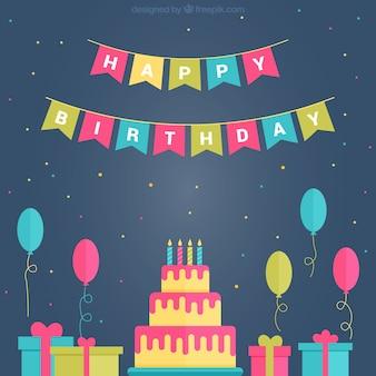 Conjunto de bolo de aniversário com balões e presentes em design plano