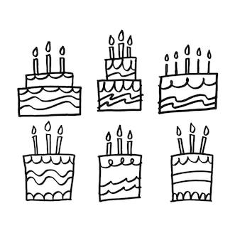Conjunto de bolo de aniversário desenhado à mão, vetor de linha preta simples e fofa