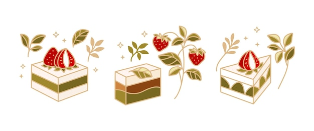 Conjunto de bolo de chá verde desenhado à mão, elementos de pastelaria e logotipo de padaria com folha floral e morango fruta isolada