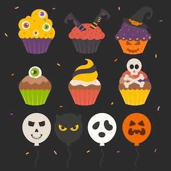 Conjunto de bolo de halloween fofo isolado
