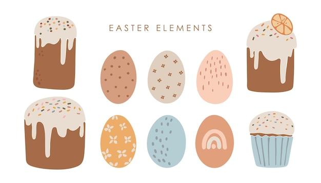 Conjunto de bolo de páscoa abstrato e ovos coloridos conjunto de pão doce boho delicioso