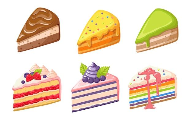 Conjunto de bolo de sobremesa, doces de confeitaria, tortas, pastelaria