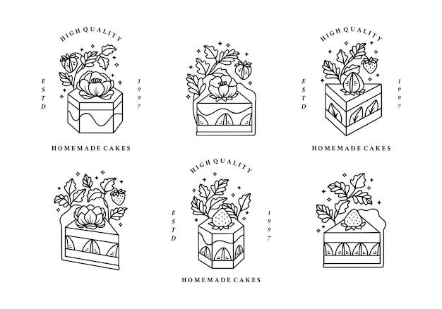 Conjunto de bolo desenhado à mão