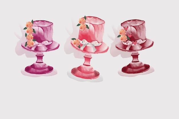 Conjunto de bolo floral aquarela