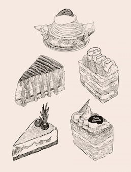 Conjunto de bolo, mont blanc, banoffee, strawbeey bolo de camada de creme de leite fresco, bolo de queijo de mirtilo e bolo de baga de chocolate. mão desenhar desenho vetorial.
