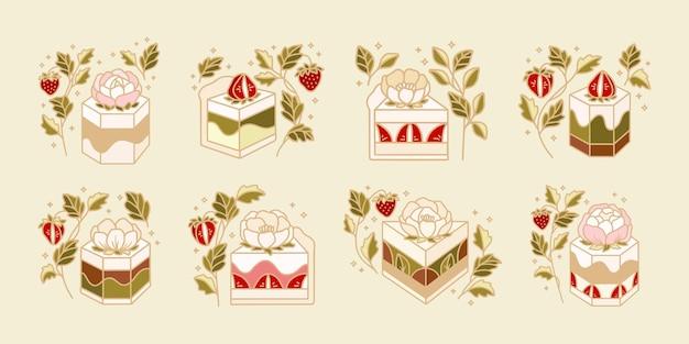 Conjunto de bolo, pastelaria, elementos de logotipo de padaria com morango, flores e ramo de folha