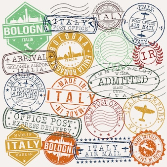 Conjunto de bolonha itália de viagens e selos de negócios