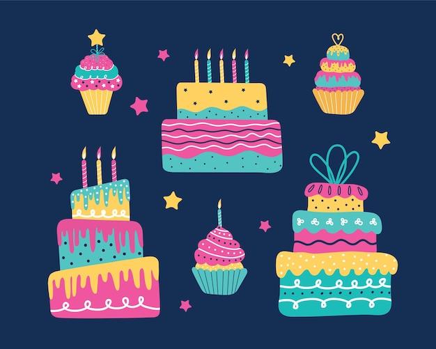 Conjunto de bolos assados com velas. bolinhos doces, muffin, cupcake com creme.